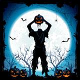 Halloween monster with head from pumpkin