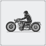 Motorcycle rider with racer helmet on motorcycle. Emblem of bikers club. Vintage style. Monochrome design.