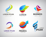 Vector set of abstract logo design, web icons. 3d templates, colorful symbols for company identit