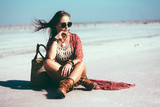Bohemian chic styled model - 122493786