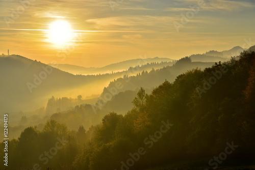 Pieniny mountain in the fog at sunrise