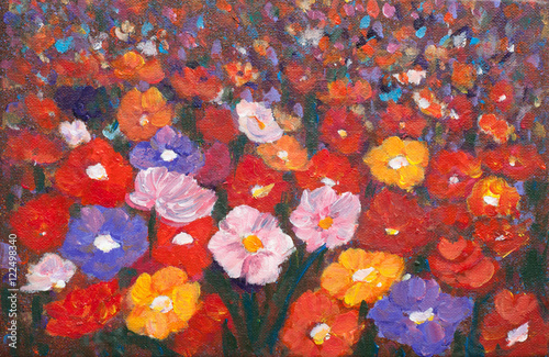 Plakat Acrylic painting of colorful wildflower field, landscape painting, impressionist style