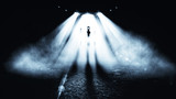 Fototapety Alien in Dark Night. Horror  Background.