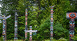 Totem poles in Stanley Park,Vancouver at summer