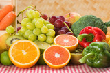 Prepared fresh fruits and vegetables for healthy