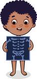 Cute cartoon boy with x-ray screen.