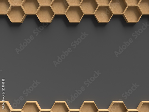 Fototapeta 3D rendering wooden hexagon pattern with dark background template for presentation