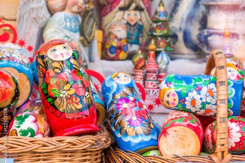 Zdjęcia Display of colorful matryoshkas (russian dolls) in Moscow, Russia