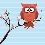 owl orange tree leaves orange vector illustration eps 10