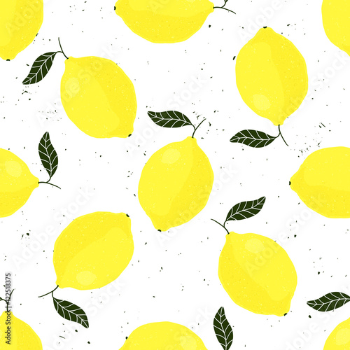 Vector grunge seamless pattern with lemons on white background - 122518375