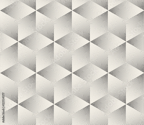 Vector Seamless Black and White Stippling Halftone Gradient Rhombus Pattern - 122534377