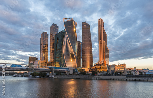 Poster Business Center Moscow City at sunrise.