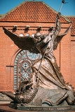 Statue Of Archangel Michael near Red Catholic Church Of St. Simon And St. Helena
