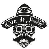 Dia de Muertos Day of Dead. Black Skull in Mexican Hat