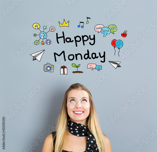 Happy Monday concept with happy young woman