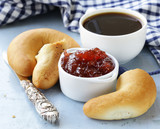 bagels, jam and coffee for breakfast