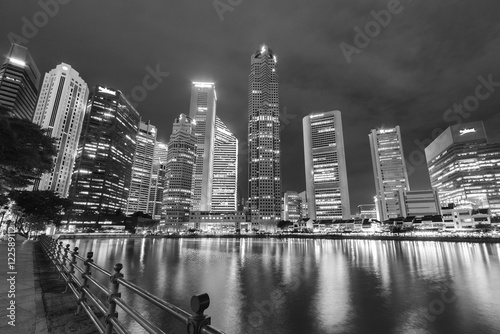 Skyline of Singapore city at night Poster