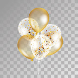 Fototapety Gold transparent balloons on background.