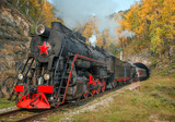 Old steam locomotive in the Circum-Baikal Railway