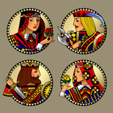 Round gold shapes with faces of playing cards characters