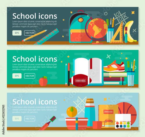 Fototapeta Vector Back To School Banner concept design. Horizontal banners of education with school items.