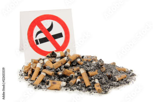 Poster Sign and nicotine sigarette on a white background
