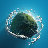 wind turbine on green planet