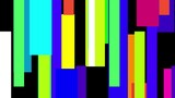 A 20 second loop of abstract mosaic rectangle bars moving over black background with matte.