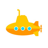 Yellow submarine vector icon on white background