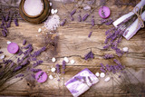 Fototapety Lavender soap, scented salt and spa stones - Spa treatment for your health and pleasure