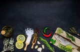 Fish and Cooking Ingredients with Copy Space