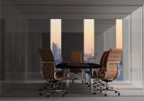 modern  office meeting room with city background for business concept - 122650109