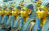 golden statues of the pharaohs in the souvenir shop, oriental gifts