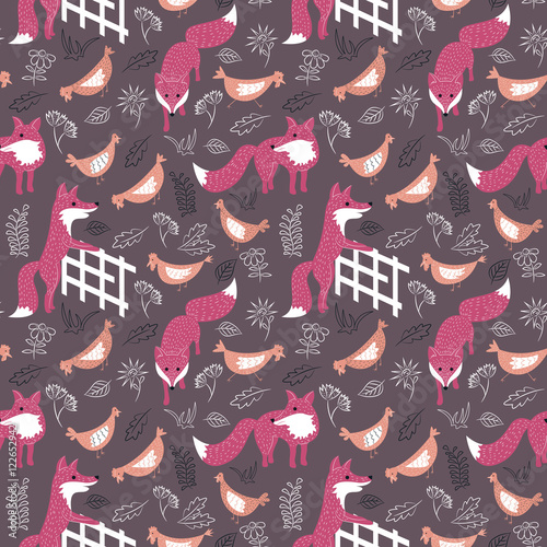 Cotton fabric Sly foxes and chickens vector seamless pattern