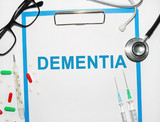 Dementia written on a clipboard, Medical concept