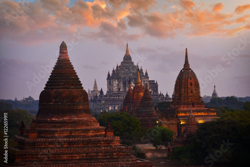 Poster The Ancient temple in Bagan before sunrise , Myanmar