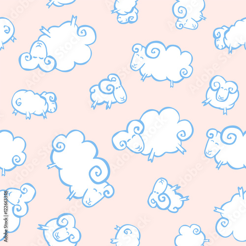 Seamless baby pattern - white sheeps like clouds on a pink backg