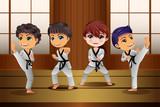Fototapety Kids Practicing Martial Arts in the Dojo