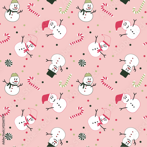 A snowman Christmas seamless pattern in pink, green, white and pink background for Christmas holiday.