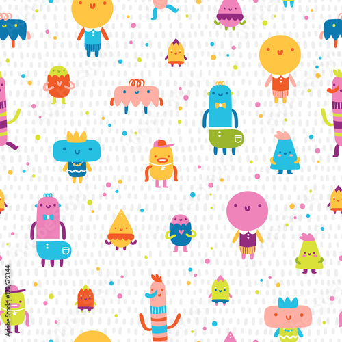 Cotton fabric Abstract characters vector seamless pattern