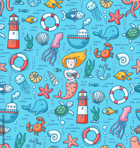 Cotton fabric Sea life colorful vector seamless pattern