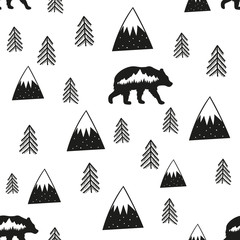 Vector illustration with stylish cartoon seamless pattern. Bear, pine trees and mountains. Black and white doodle style print