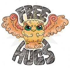Flying doodle owl. Free hugs fluffy bird.