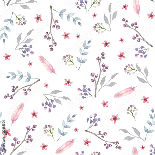 Vector seamless pattern with pink watercolor flowers and grey leaves. Floral Background design. - 122685504