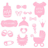 A vector illustration of cute baby girl icons like nappy pins, pacifier and baby toys. pink silhouette Hipster photo booth