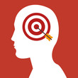 human head profile with target and bow icon over red background. vector illustration