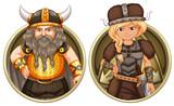 Viking male and female on round badge