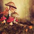 Jesienna sceneria z kolorowymi grzybami, kwiatami i bluszczem