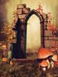 Ruiny bramy z grzybami, kwiatami i jesiennym bluszczem