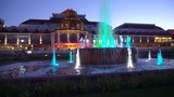 colored fountain night view